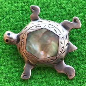 sterling silver Abalone Puente Mexico turtles pin